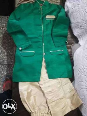 Green golden khadi silk sherwani fr boys aged 8-11.price