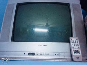 Grey Videocon CRT TV With Remote Control