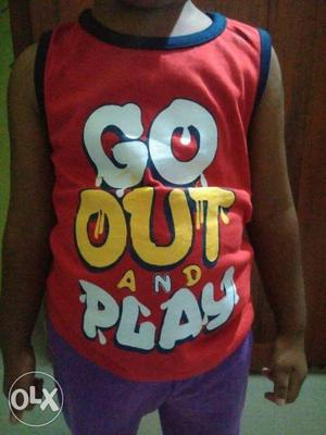 Suitable for Boys & Girls, printed Sleeveless T-shirts