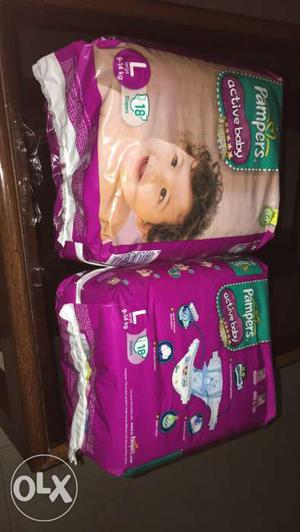Two new packs of pampers L size with18diapers in