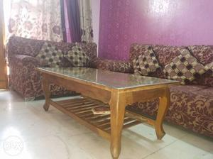 3 year old 5 seater sofa set with center table in mint