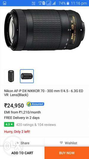 Black Nikkor AF-P DX  MM VR ED lens This is