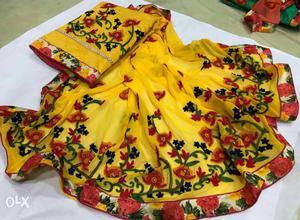 Chanderi Silk Top With Bholpuri Work, Santoon