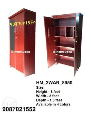 2 door wardrobe with mirror and locker