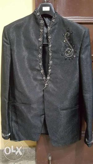 Black Floral blazer for men