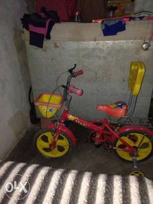 Toddler's Red And White Bicycle With Training Wheels