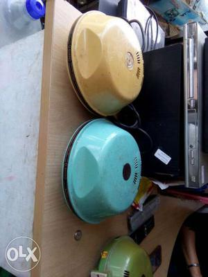 One Blue And One Yellow Electric Bell Alarms