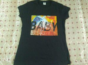 Size: L, black printed T shirt, NEW AND UNUSED