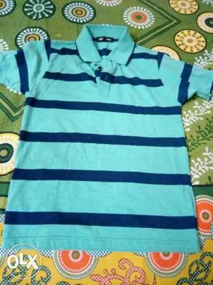 Blue 2-tone Striped Polo Shirt