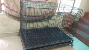 Imported dog cage with plastic base, trays and