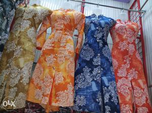 Women's Four Assorted Color Floral Traditional Dresses