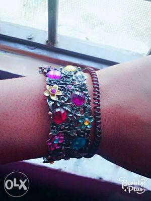 Black And Multicolored Rhinestone-encrusted Bracelet