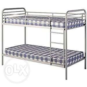 Gray Metal Bunk Bed With Gray And White Plaid Mattresses