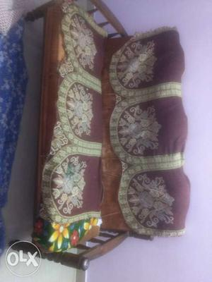 Maroon, Brown And White Floral Couch With Take Wooden Frame