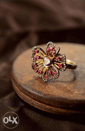 Victorian Unique Rose Cut Diamond Sterling Silver 925 Gold