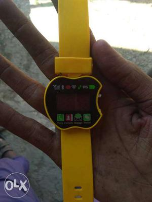 Apple-shaped Yellow Smart Watch With Yellow Strap