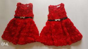 Set of 2 MeiQ Red Rosette Party Dresses for twin girls