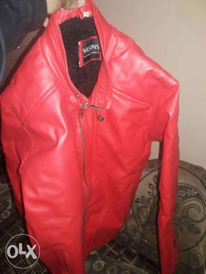 Red leather brand new jacket