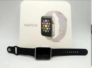 Silver Aluminum Case Apple Watch With Black Sports Band Box