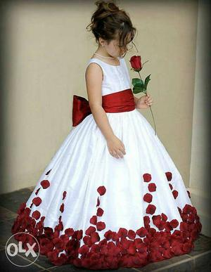 Girl's White And Red Floral Sleeveless Gown