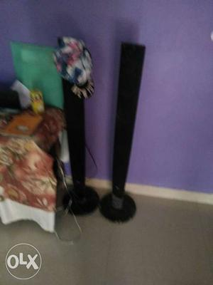 Lg Four Black Tower Speakers one center and one uffer