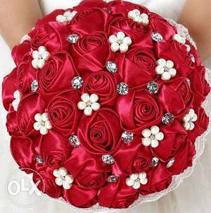 Red Fabric Rose Flowers Bouquet