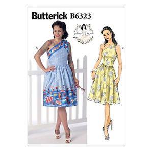 Butterick Patterns B Misses' One-Shoulder Dresses, Size