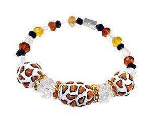 Linpeng Fiona Hand Painted Giraffe Print Glass Beads Jewelry
