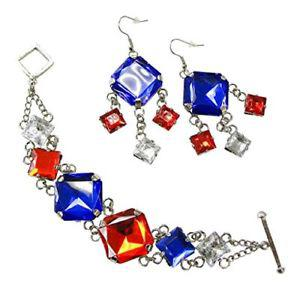 Linpeng Patriotic Faux Stone Toggled Bracelet & Earrings