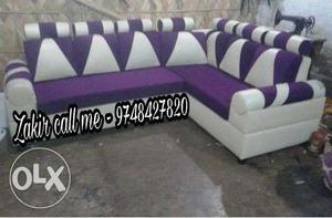 Purple and white sectional couch l shape sofa set