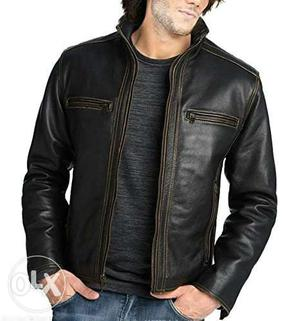 Black Leather Zip-up Jacket