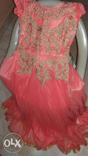 Peach and gold colour Floral Dress