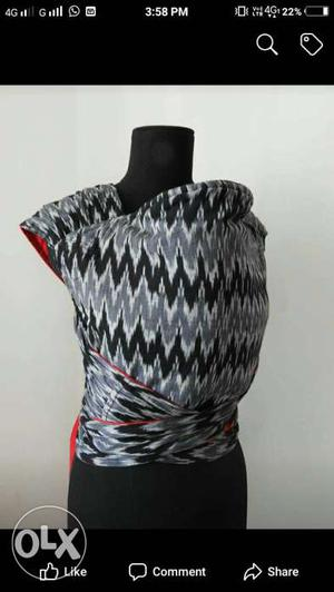 Baby's Grey, White, And Black Chevron Carrier