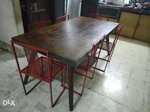 Burma teak wood dining table (with fabricated