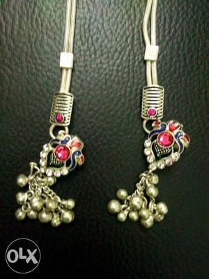 Ladies new silver payal set