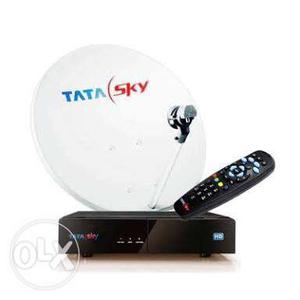 Tata sky HD box with remote, dish and 10 meter