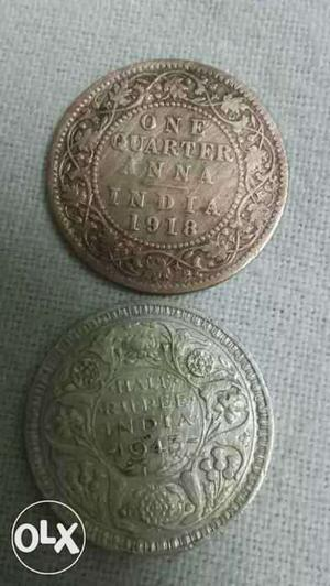Two Round Silver One Quarter Anna India Coins