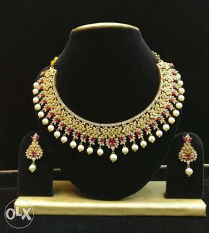 American Diamond Necklace with Earrings for sale.