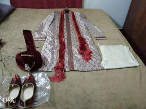 Branded Indo western Sherwani with safa and shoe.