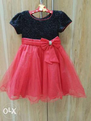 Red & Black Glittery froke for 3 to 4 year size