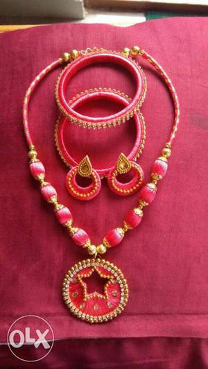 Silk thread Necklace sets with matching earrings