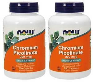 2-Pack Of Chromium Picolinate 200 mcg 250 Caps, Now Foods