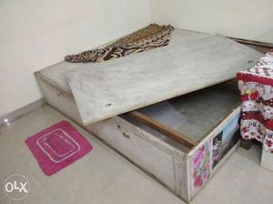 Double bed. Plywood box bed. Front and top open.