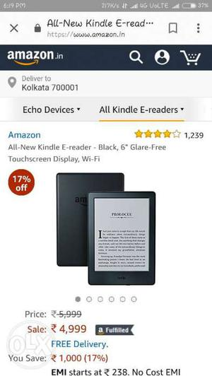 Amazon Kindle totally new with USB charging cable