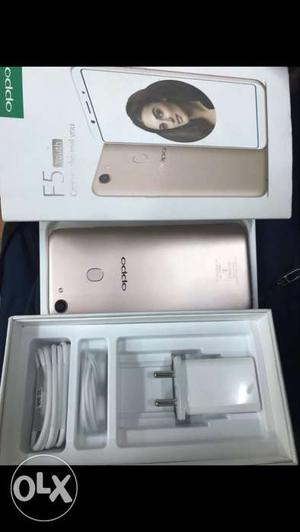 Oppo F5 new mobile just box opened gold color with bill