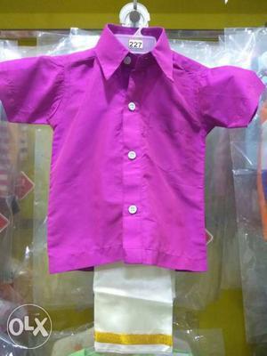 Silk shirt and velcro dhoti own manufacture cheap