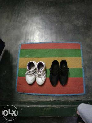 Toddler's Two Pairs Of Black And White Shoes