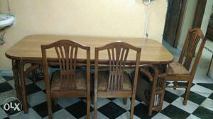 Brown Wooden Dining Table Set with 6 chairs