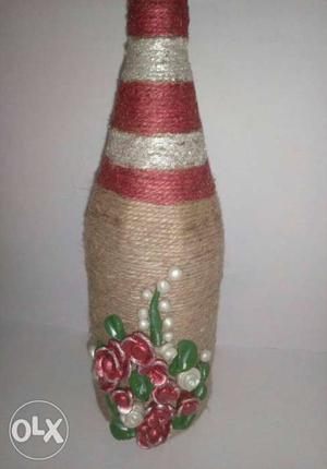Red, Brown, And White Rope Decorative Bottle With Red,