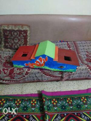 Blue And Brown Nemo Printed Storey House Miniature